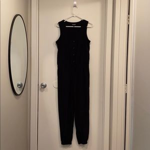 Black express jumpsuit with jogger legs